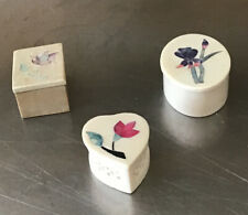 Fetco India Vintage Soapstone & Mother of Pearl Trinket Box Lot Of 3 Free Ship