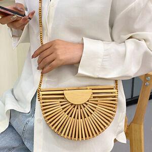 LUXURY BAMBOO HANDBAG For Women Shoulder Bag Semicircle Bamboo Woven BAMBOO