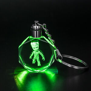Crystal LED KEYRING SUPERHEROS THEAMED I AM GROOT WITH OWN BOX UK seller