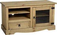 Corona Entertainment Unit in Distressed Waxed Pine Glass  Free Delivery