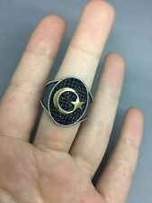 TURKISH ARABIC MEN's RING 925 STERLING SILVER BLACK ONYX AGATE STONE Size 9
