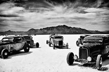 16x24 in. Print, 1934 Bonneville Salt Flat Ford Racers, Garage Man Cave Hot rod