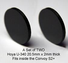 Set of TWO Hoya U-340 20.5mm x 2mm UV Filters for 365nm Convoy S2+ flashlights