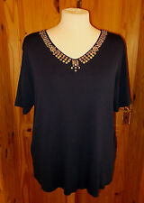 ROMAN  navy blue sequin bead v neck short sleeve tunic top t-shirt L-XL 14 16 18