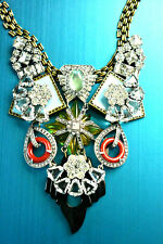 LULU FROST SIGNED RUNWAY 'INDIAN SUMMER' MULTI RHINESTONES GOLD PLATED NECKLACE