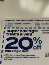 Bed Bath & Beyond 20% OFF One Item Coupon Emailed Only, NO SHIP!
