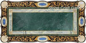 "72"" x 40"" Marble coffee Table top Inlay semi precious stones pietra dura art"