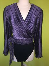 Women's Vintage 80s Bodysuit Top Large Pleated Wrap Belted Disco Plum