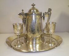 ANTIQUE 1872 REED & BARTON SILVERPLATE TRAY TANKARD AND TWO CHALLIS CUPS IVY PAT