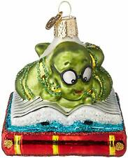 Bookworm Old World Christmas New Blown Glass Glitter Accents Reading 00006000