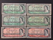 Lot Of 6 1954-67 Bank Of Canada $1/$2 Dollars.