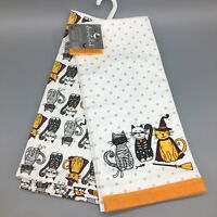 x2 Halloween Cat Kitchen Towel Set Costume Skeleton Witch Mummy NEW