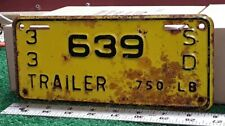 SOUTH DAKOTA - 1933 third year of issue TRAILER license plate, original as shown