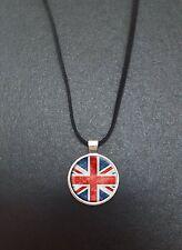 """Union jack drapeau pendentif sur un 18"""" noir cord collier idéal anniversaire cadeau N97"""