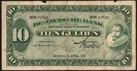 1930 Netherlands Indies 10 Gulden Banknote * MM 01853 * VG+ * P-70d *