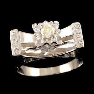 HIGH SET VINTAGE Solid 18K 750 White Gold Natural Diamond Ring 0.20tw 6.12g