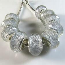 30PCS White Silver Core Faceted Lampwork Resin Beads Fit European Charm Bracelet