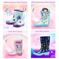 Girls Boys Cute Pattern Rain Boots Toddler Little Big Kids Rubbler Water Shoes