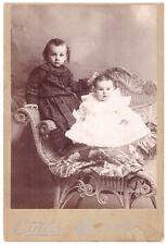 2 Beautiful Baby Girls, Fashion Dresses. Antique Cabinet Card. Cuttler. Barre Vt