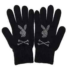 Playboy Ladies Girls Black Warm Winter Gloves and Scarf Bunny  Or Buy As A Set