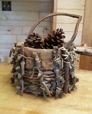 Vintage Hand Crafted Wicker Pinecone Decorative Northwoods Woven Basket