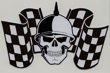 Racing Skull & Chequered Flags Car Motorbike Sticker #2