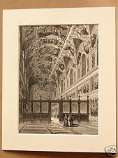 SISTINE CHAPEL VATICAN ITALY ANTIQUE MOUNTED ENGRAVING FROM c1890 PUBLICATION