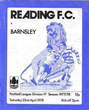 Football Programme>READING v BARNSLEY Apr 1978