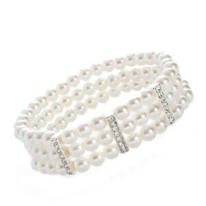Womens Three row pearl bead elasticated bracelet