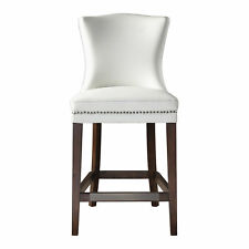 Retro Modern Faux Leather Cream White Counter Bar Stool Exposed Wood Mid Century