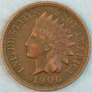 1906 Indian Head Cent Vintage Penny Old US Coin Full Rims Fast S&H 36086