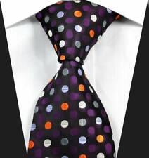 Hot Classic Dots Purple White Orange JACQUARD WOVEN 100% Silk Men's Tie Necktie