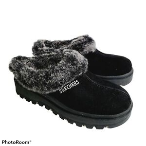 Skechers Womens Shindigs Fortress Clogs Shoes Black Faux Fur Lined Slip Ons 7