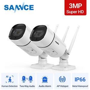 SANNCE Wireless CCTV IP Outdoor Camera Super HD 2K/3MP 2-Way Audio Security IP66