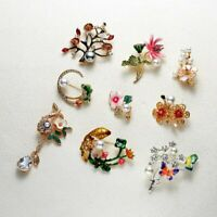Charm Crystal Flower Brooch Pin Women Rhinestone Bouquet Wedding Jewelry Gift