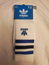 Adidas socks large white crew blue and black stripes