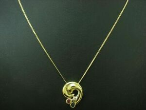 14kt 585 Yellow Gold Chain & Pendant With Sapphire, Ruby & Diamond Trim / 4,7g