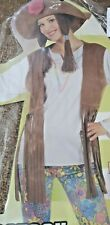 Hippie Chick Flares Costume 60s 70s Ladies Hippy Fancy Dress Outfit Size 10-12
