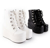 Punk Women's High Platform Flat Lace up Gothic New Combat Ankle Boots Shoes
