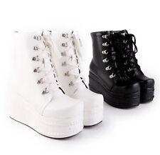 Punk Women's High Platform Flat Lace up Gothic New Combat Ankle Boots Shoes