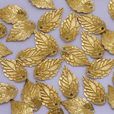 Brass leaf Pendant Connector Charms Jewelry finding beads 10*17mm 50pcs 10201750