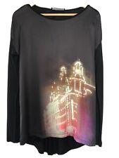 Oui, Silky Front Tunic, Nightime Graphic, Black, Uk14 EU 40 NEW
