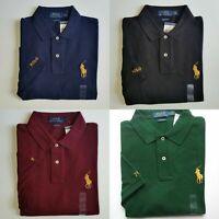 Men Polo Ralph Lauren Mesh Polo Shirt - CLASSIC FIT Gold Pony Size S M L