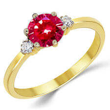14K Solid Yellow Gold Lab Created Ruby Three Stone Engagement Ring