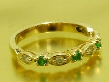 s R103 Solid 9K Yellow Gold NATURAL DIAMOND & Emerald Eternity Ring size K