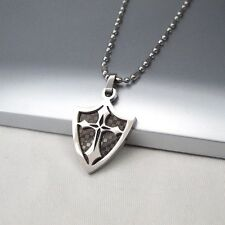 "Silver Black Knights Templar Armour Shield Cross Pendant 24"" Mens Chain Necklace"