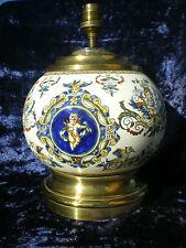 ANCIEN PIED DE LAMPE EN FAIENCE DE GIEN FORME BOULE DECOR DE PUTTI