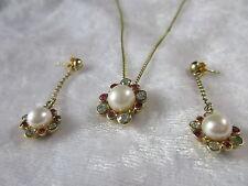 Kette Anhänger Ohrhänger 925 Silber vergoldet Rubin weißer Topas oder Spinell?