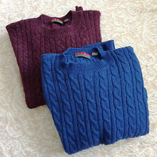 Lot 2 Vtg Jos A Banks Red 100% Shetland Wool Cableknit Crewneck Sweater Preppy