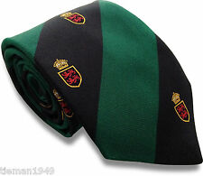Crested Black and Green Striped Mens Silk Tie High Fashion Regimental Millitary
